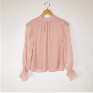Japna High Collar Blush Blouse sz XS